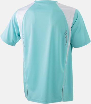 Mint/Vit (rygg) Flerfärgade tränings t-shirts i herrmodell med reklamtryck