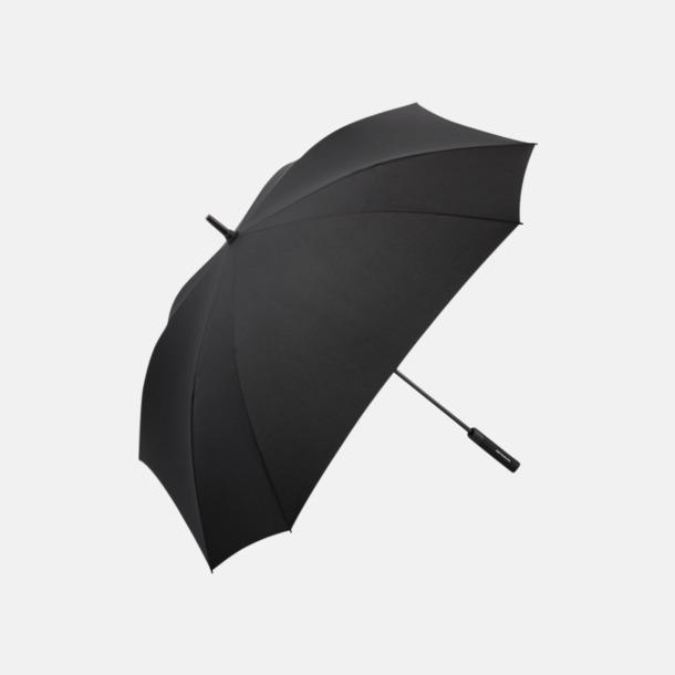 Svart Fyrkantiga paraplyer med färgade skaft - med reklamtryck