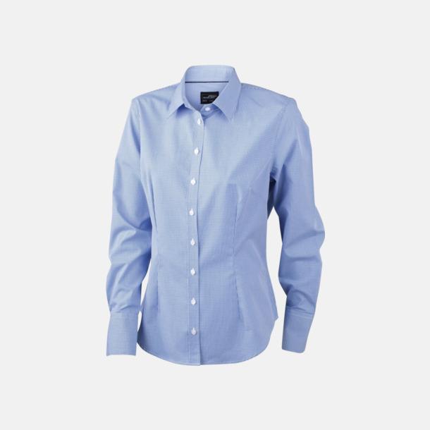 Vit/Blå (dam) Bomullslusar & -skjortor med fina rutor - med reklamtryck