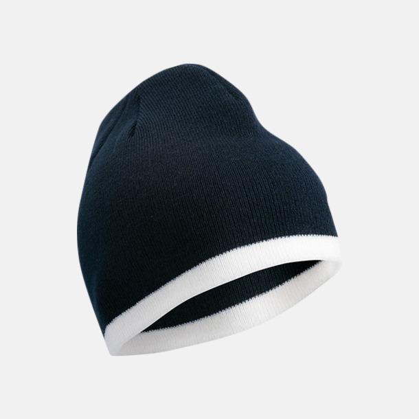 Marinblå/Vit Stickad mössa med eget tryck