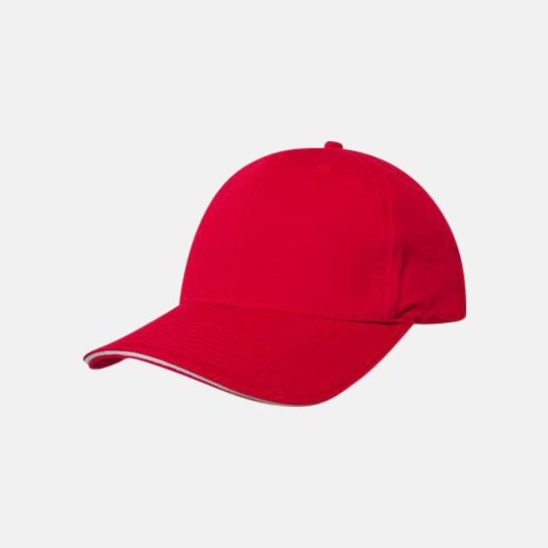 Röd / Vit Denimkepsar i två varianter med reklambrodyr