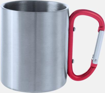 Silver / Röd Stålmuggar med färgat karbinhakeöra med reklamtryck