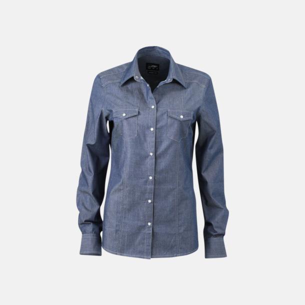 Light Denim (dam) Easy Care premium jeansskjortor med reklamtryck