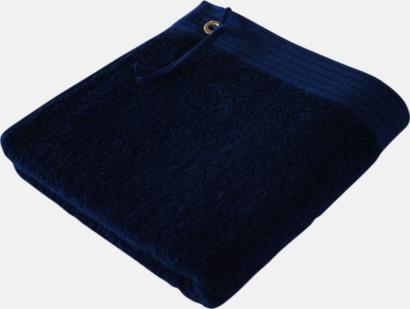 Marine Blue Handdukar med metallögla och snöre - med brodyr