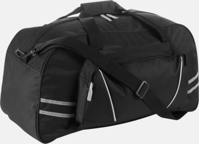 Svart Sportbags med reflexremsor - med tryck