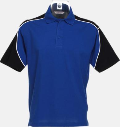 Royal/Svart/Vit Sportiga pikétröjor för i herrmodell - med reklamtryck eller -brodyr