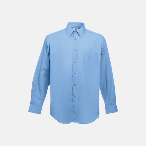 Mid Blue Long Sleeve Poplin Shirt med reklamlogo