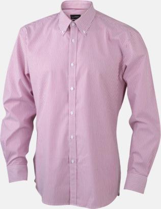Vit/Röd (herr) Bomullsblusar & -skjortor med fina ränder - med reklamtryck