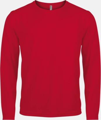 Röd Sport t-shirts med långa ärmar för män - med reklamtryck