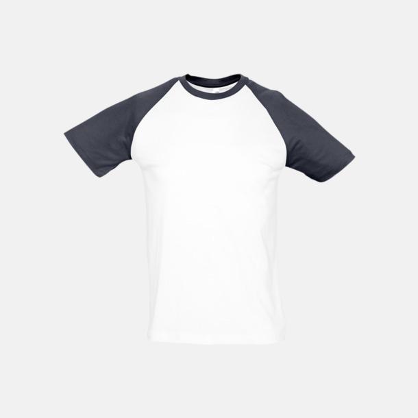 Vit/Marinblå (herr) T-shirts i herr- och dammodell med kontrasterande färg - med reklamtryck