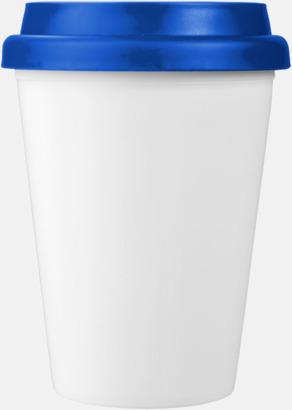 Blå / Vit Billiga take-away, dubbelväggiga plastmuggar med reklamtryck