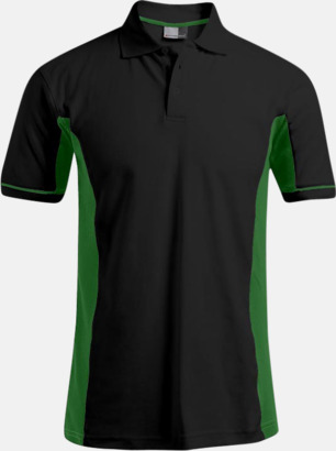 Svart/Kelly Green (herr) Pikétröjor i funktionsmaterial med tryck