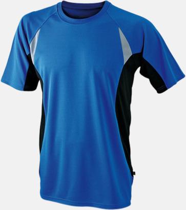 Royal/Svart/Reflex Flerfärgade tränings t-shirts i herrmodell med reklamtryck