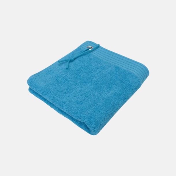 Aqua Handdukar med metallögla och snöre - med brodyr