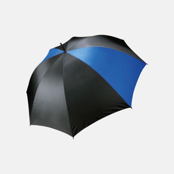 Svart/Royal Blue Stormsäkra, 2-färgade paraplyer med reklamtryck