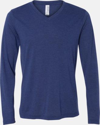 Navy Triblend (heather) Långärmade V-neck t-shirts i unisexmodell med reklamtryck