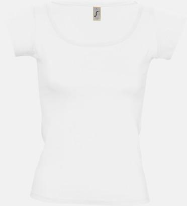 Vit Dam t-shirts med vid boat neck - med reklamtryck