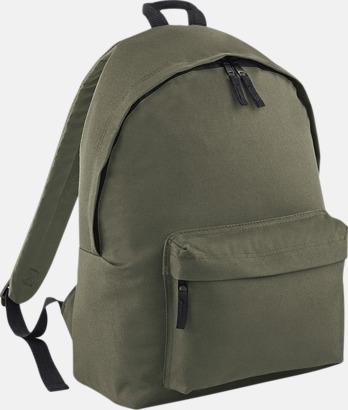 Olivgrön Klassisk ryggsäck i 2 storlekar med eget tryck
