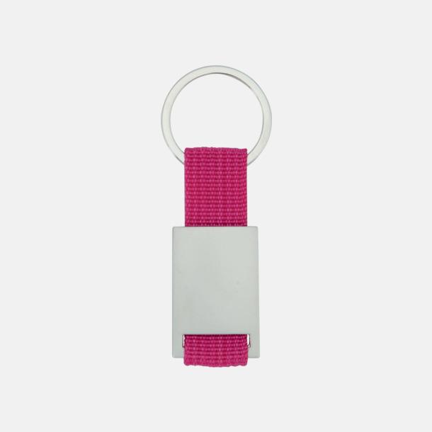 Rosa/Silver Metallnyckelringar med färgade polyesterband med gravyr