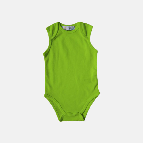 Limegrön Ekologiska bodyvästar för bebisar med reklamtryck