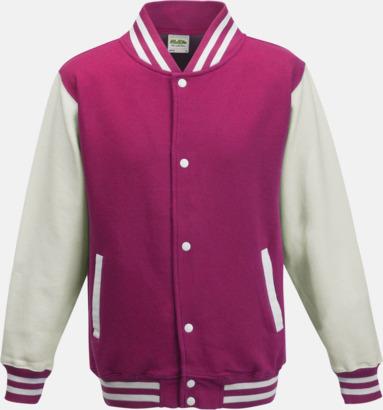 Hot Pink/Vit Trendiga varsity-jackor för barn - med reklamtryck