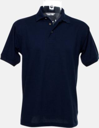 Marinblå Arbetspikétröjor i många färger - med reklambrodyr