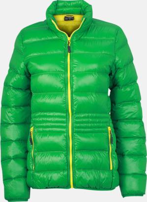 Grön/gul (dam) Herr- och damdunjackor med tryck
