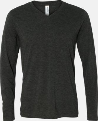 Charcoal-Black Triblend (heather) Långärmade V-neck t-shirts i unisexmodell med reklamtryck