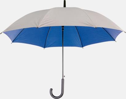 Silver / Blå Paraplyer med färg på insidan - med reklamtryck
