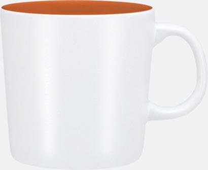 Vit/Orange (matt) Koppar med reklamtryck