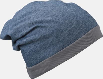 Blå Melange/Mörkgrå Tunna sommarmössor med reklambrodyr
