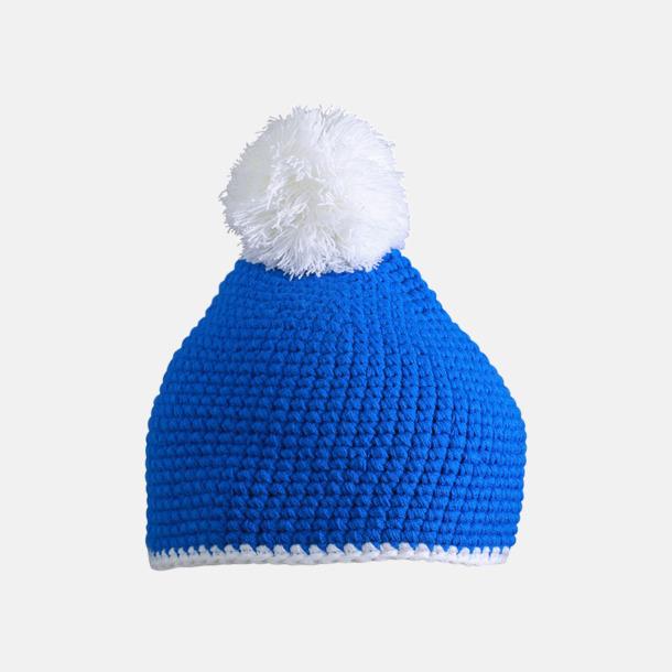 Blå / Vit Toppluvor med rand och toft i annan färg - med bordyr