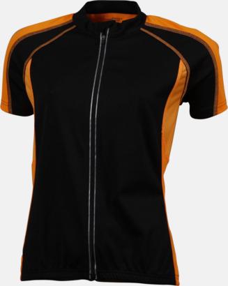 Svart/Orange (dam) Herr- och damcykeltröjor med hel dragkedja - med reklamtryck