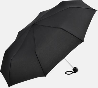 Svart Kompaktparaplyer i aluminium med tryck