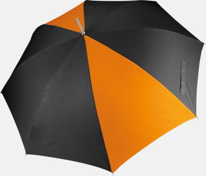 Svart/Orange Tvåfärgade golfparaplyer med reklamtryck