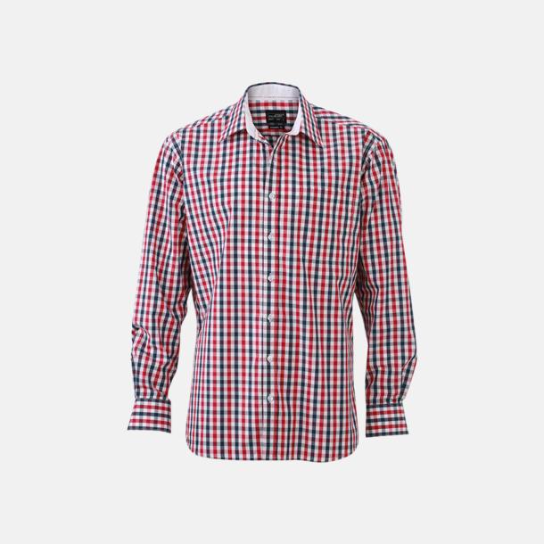 Marinblå/Röd-Marinblå/Vit (herr) Rutiga bomullsskjortor & -blusar med reklamtryck