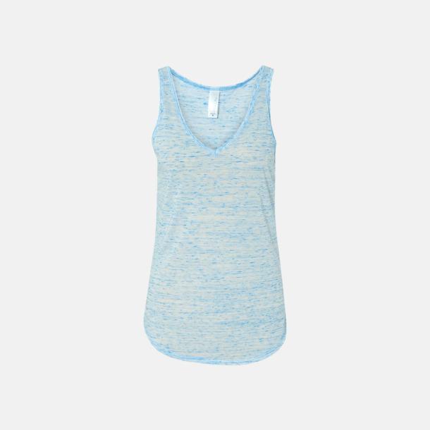 Marble Blue (heather) Damlinnen med v-neck - med reklamtryck
