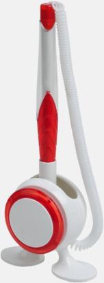 Vit / Röd Bläckpenna med ställ - med reklamtryck