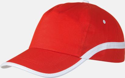 Röd / Vit Snygga och billiga kepsar med reklamtryck