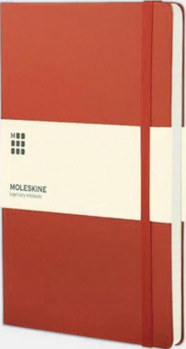 Geranium Red (ruled) Moleskines mindre (ca A6) anteckningsböcker med linjerade eller rutade sidor - med reklamtryck