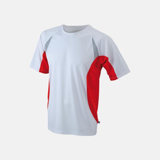 Vit/Röd/Reflex Flerfärgade tränings t-shirts i herrmodell med reklamtryck