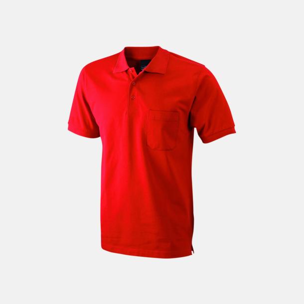 Röd Fickförsedda pikétröjor med reklamtryck