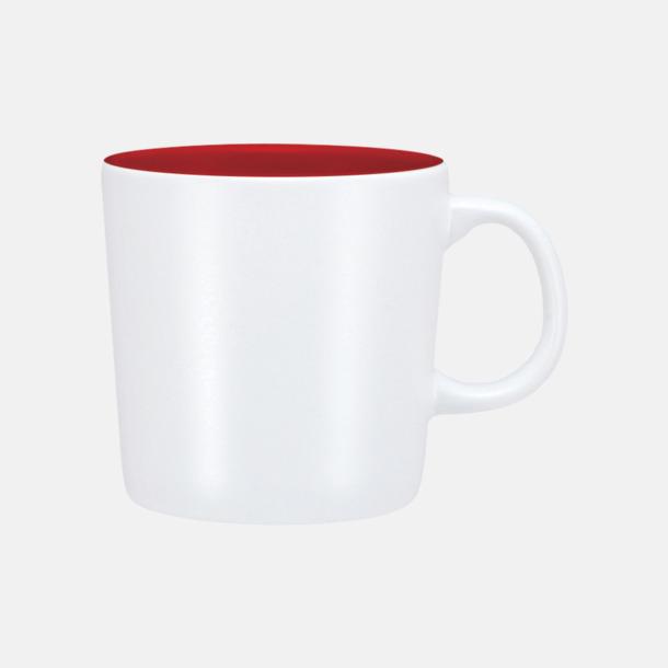 Vit/Röd (matt) Koppar med reklamtryck