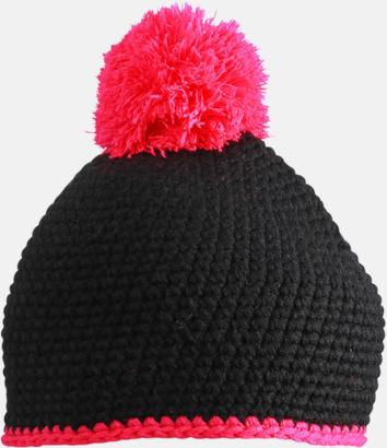 Svart/Rosa Toppluvor med rand och toft i annan färg - med bordyr