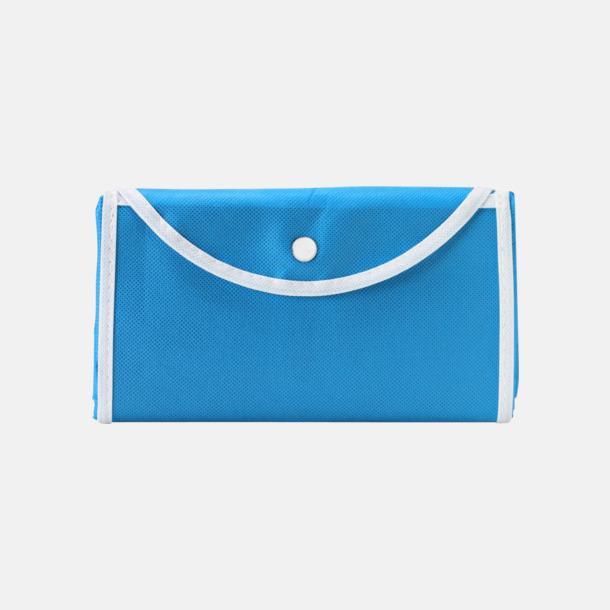 Ljusblå/Vit (bärkasse) Vikbara non woven-påsar med knäppning - med reklamtryck