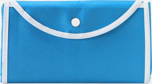 Ljusblå / Vit Vikbara non woven-påsar med knäppning - med reklamtryck