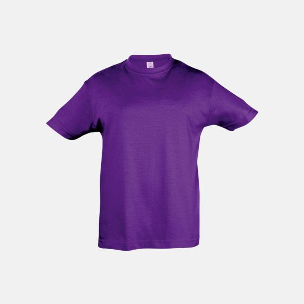 Mörklila Billig barn t-shirts i rmånga färger med reklamtryck