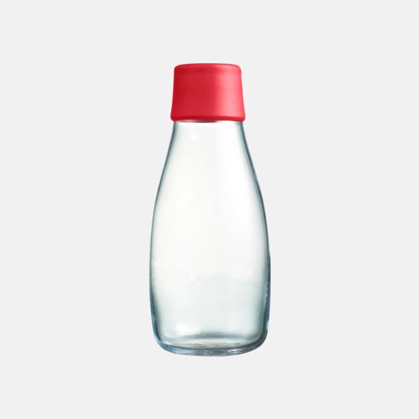 Röd Mindre vattenflaskor av glas med reklamtryck