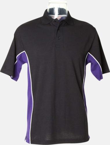 Svart/Lila/Vit Sportiga pikétröjor med reklamtryck eller -brodyr