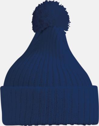 Marinblå Stickade toppmössor med reklambrodyr